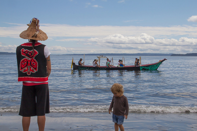 Canoe Journey, Paddle to Nisqually, 2016, Swinomish tribal canoes landing, Port Townsend, Fort Worden, Olympic Peninsula, Puget Sound, Salish Sea, Washington State, USA,