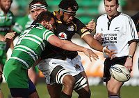 Wellington lock Api Naikatini loses the ball under pressure from Doug Tietjens (left) during the Air NZ Cup preseason match between Manawatu Turbos and Wellington Lions at FMG Stadium, Palmerston North, New Zealand on Friday, 17 July 2009. Photo: Dave Lintott / lintottphoto.co.nz