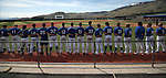 Western Nevada College Wildcats listen to the National Anthem before a college baseball game at John L. Harvey Field in Carson City, Nev., on Friday, April 11, 2014. <br /> Photo by Cathleen Allison/Nevada Photo Source