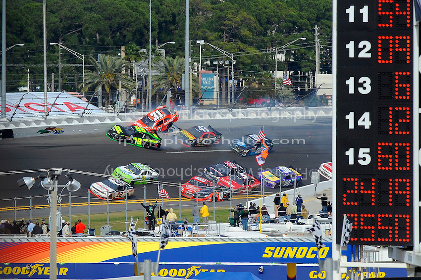 Justin Allgaier (#31) gets airborne during a crash in turn 4.