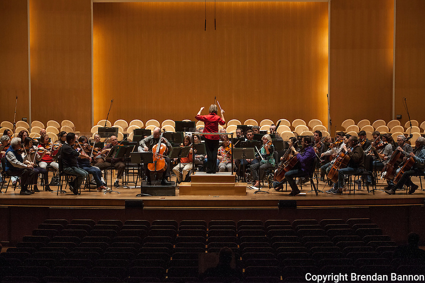 Joann Falletta led rehersals for a musical program that included Tchaikovsky's 1812 Overture and guest soloist Mark Kosower Principal cellist for the Cleveland Philharmonic Orchestra played Tchaikovsky's Rococo Variations.  Joann Falletta has been the Musical Director of The Buffalo Philharmonic Orchestra since 1999. Kleinhans Music Hall, Buffalo, NY.  10/16/16. Photo by Brendan Bannon