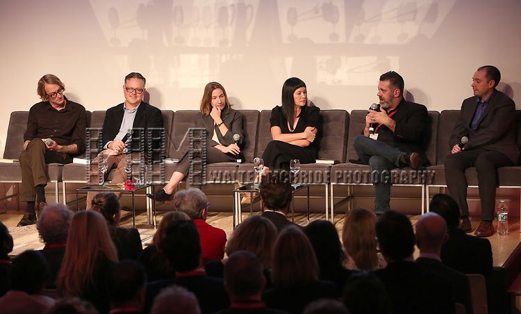 Patrick DeWitt, Eric DuPont, Shela Heti, Thea Lim, Michael Redhill and Peter McCambridge during the Scotiabank Giller Prize 25 Finalists: Between The Pages at the New Museum on November 7, 2018 in New York City.