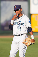 Corey Simpson (36) of the Everett Aquasox prior to a game against the Vancouver Canadian at Everett Memorial Stadium in Everett, Washington on July 27, 2015.  Everett defeated Vancouver 6-0. (Ronnie Allen/Four Seam Images)