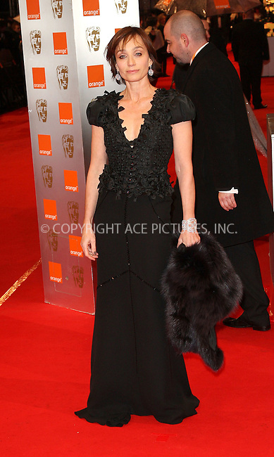 WWW.ACEPIXS.COM . . . . .  ..... . . . . US SALES ONLY . . . . .....February 21 2010, London....Kristin Scott Thomas at the Orange British Academy Film Awards (BAFTA's) on February 21 2010 in London......Please byline: FAMOUS-ACE PICTURES... . . . .  ....Ace Pictures, Inc:  ..tel: (212) 243 8787 or (646) 769 0430..e-mail: info@acepixs.com..web: http://www.acepixs.com