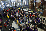SIOUX FALLS, SD: MARCH 23:  Fans from Central Missouri and Ashland line up to get into the game at the 2018 Division II Women's Basketball Championship at the Sanford Pentagon in Sioux Falls, S.D. (Photo by Dick Carlson/Inertia)