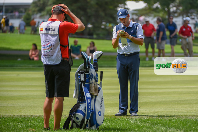 Sergio Garcia (ESP) figures his yardage for his approach shot on 9 during 4th round of the World Golf Championships - Bridgestone Invitational, at the Firestone Country Club, Akron, Ohio. 8/5/2018.<br /> Picture: Golffile | Ken Murray<br /> <br /> <br /> All photo usage must carry mandatory copyright credit (© Golffile | Ken Murray)