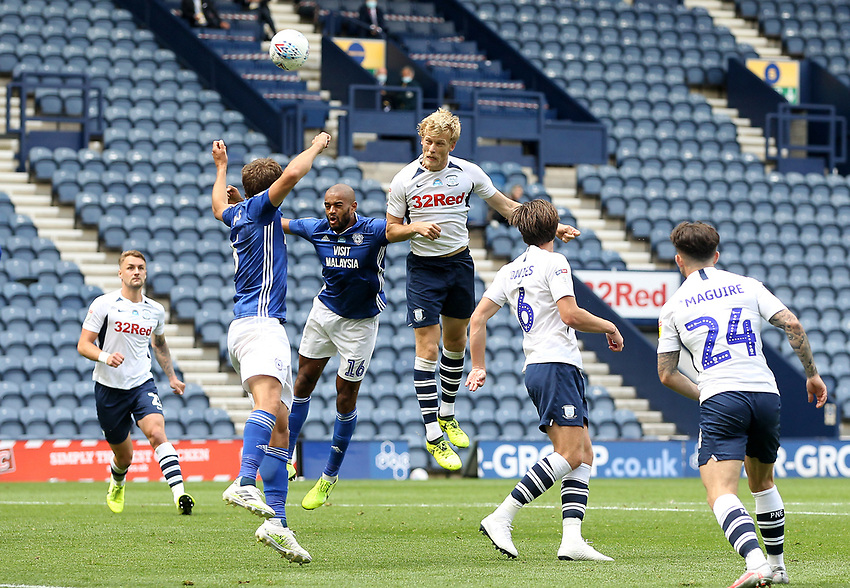 Preston North End's Jayden Stockley gets a header on goa<br /> <br /> Photographer Mick Walker/CameraSport<br /> <br /> The EFL Sky Bet Championship - Preston North End v Cardiff  City - Saturday 27th June 2020 - Deepdale Stadium - Preston<br /> <br /> World Copyright © 2020 CameraSport. All rights reserved. 43 Linden Ave. Countesthorpe. Leicester. England. LE8 5PG - Tel: +44 (0) 116 277 4147 - admin@camerasport.com - www.camerasport.com