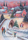 Interlitho, CHRISTMAS LANDSCAPE, paintings, family, bridge, houses(KL5530,#XL#)