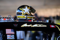 Apr 11, 2008; Avondale, AZ, USA; The helmet of NASCAR Sprint Cup Series driver Mark Martin during practice for the Subway Fresh Fit 500 at Phoenix International Raceway. Mandatory Credit: Mark J. Rebilas-