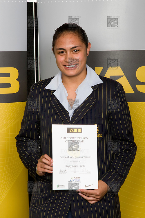 Girls Rugby Union winner Vienna James from Auckland Girls Grammar School. ASB College Sport Young Sportperson of the Year Awards 2008 held at Eden Park, Auckland, on Thursday November 13th, 2008.