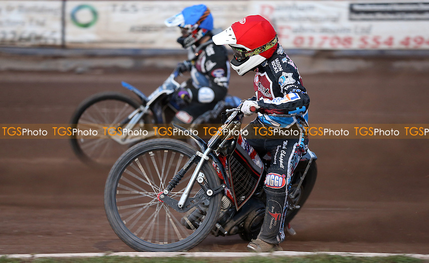 Heat 9: Ben Morley (red) and Adam Ellis (blue) on their way to a 5-1 heat win - Lakeside Hammers vs King's Lynn Stars, Elite League Speedway at the Arena Essex Raceway, Pufleet - 19/05/14 - MANDATORY CREDIT: Rob Newell/TGSPHOTO - Self billing applies where appropriate - 0845 094 6026 - contact@tgsphoto.co.uk - NO UNPAID USE