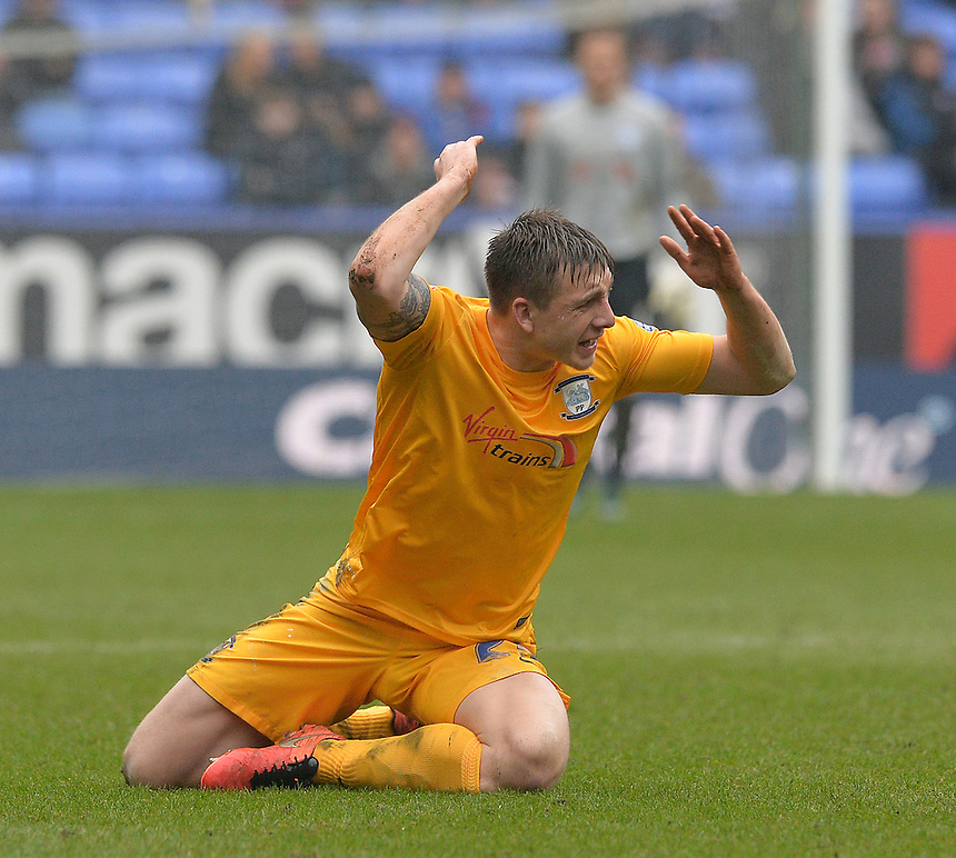 Preston North End's Jordan Hugill<br /> <br /> Photographer Dave Howarth/CameraSport<br /> <br /> Football - The Football League Sky Bet Championship - Bolton Wanderers v Preston North End - Saturday 12th March 2016 - Macron Stadium - Bolton <br /> <br /> &copy; CameraSport - 43 Linden Ave. Countesthorpe. Leicester. England. LE8 5PG - Tel: +44 (0) 116 277 4147 - admin@camerasport.com - www.camerasport.com