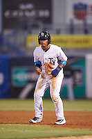 Tampa Yankees shortstop Gleyber Torres (11) leads off first during a game against the Daytona Tortugas on August 5, 2016 at George M. Steinbrenner Field in Tampa, Florida.  Tampa defeated Daytona 7-1.  (Mike Janes/Four Seam Images)