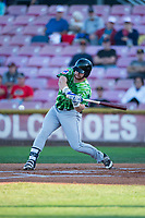 Eugene Emeralds designated hitter Luke Reynolds (4) swings at a pitch during a Northwest League game against the Salem-Keizer Volcanoes at Volcanoes Stadium on August 31, 2018 in Keizer, Oregon. The Eugene Emeralds defeated the Salem-Keizer Volcanoes by a score of 7-3. (Zachary Lucy/Four Seam Images)