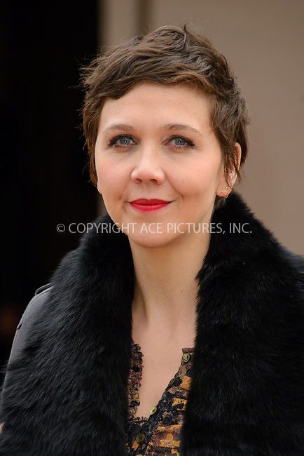 WWW.ACEPIXS.COM<br /> <br /> February 23 2015, London<br /> <br /> Maggie Gyllenhaal arriving at the Burberry Prorsum Womenswear AW15 at the Brixton Academy on February 23 2015 in London. <br /> <br /> By Line: Famous/ACE Pictures<br /> <br /> <br /> ACE Pictures, Inc.<br /> tel: 646 769 0430<br /> Email: info@acepixs.com<br /> www.acepixs.com
