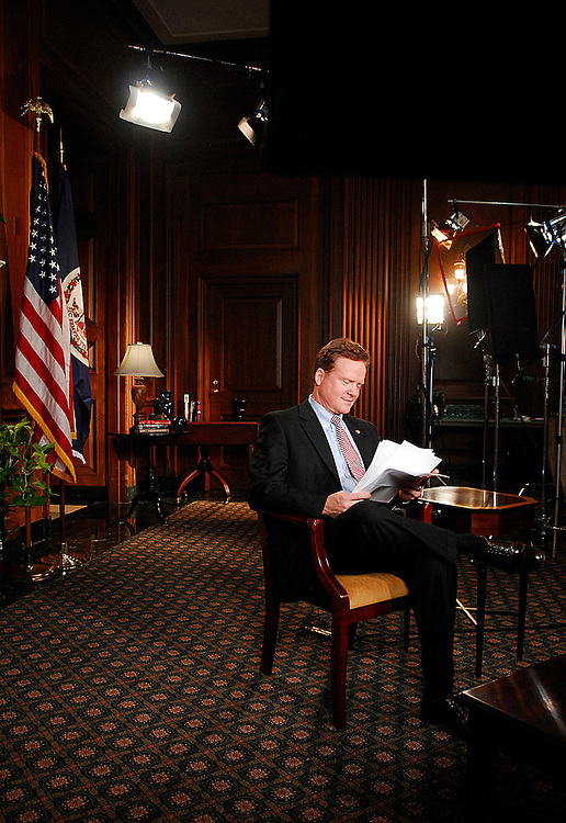 Sen. Jim Webb (D-Va.) rehearses for the Democratic response to Pres. Bush's State of the Union on Tuesday, Jan. 23, 2007. (Barbara L. Salisbury for Roll Call)