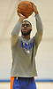 Emmanuel Mudiay of the New York Knicks works on his shot during practice at Madison Square Garden Training Center in Greenburgh, NY on Friday, Sept. 28, 2018.