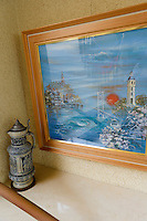 German tankard and painting, The German House, Naruto, Tokushima Prefecture, Japan, July 9, 2014. The city of Naruto in Tokushima Japan is famous for whirlpools that form in the Naruto Strait. It is home to Otani pottery and the first two temples on the Shikoku 88 temple pilgrimage.