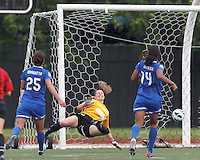 Boston Breakers goalkeeper Ashley Phillips (24) fails to make a save. In a National Women's Soccer League Elite (NWSL) match, Sky Blue FC (white) defeated the Boston Breakers (blue), 3-2, at Dilboy Stadium on June 16, 2013.