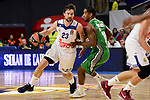 Real Madrid's Sergio Llull and Darussafaka Dogus's Brad Wanamaker during quarter final of Turkish Airlines Euroleague match between Real Madrid and Darussafaka Dogus at Wizink Center in Madrid, April 20, 2017. Spain.<br /> (ALTERPHOTOS/BorjaB.Hojas)
