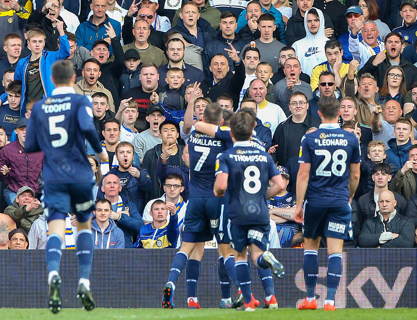 Leeds United fans react after Millwall's Ben Marshall celebrated scoring from the penalty spot<br /> <br /> Photographer Alex Dodd/CameraSport<br /> <br /> The EFL Sky Bet Championship - Leeds United v Millwall - Saturday 30th March 2019 - Elland Road - Leeds<br /> <br /> World Copyright © 2019 CameraSport. All rights reserved. 43 Linden Ave. Countesthorpe. Leicester. England. LE8 5PG - Tel: +44 (0) 116 277 4147 - admin@camerasport.com - www.camerasport.com