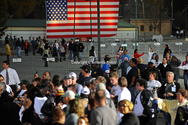 Supporters gather before a rally for Democratic presidential nominee Barack Obama in Wicker Park in Highland, Indiana on October 31, 2008.