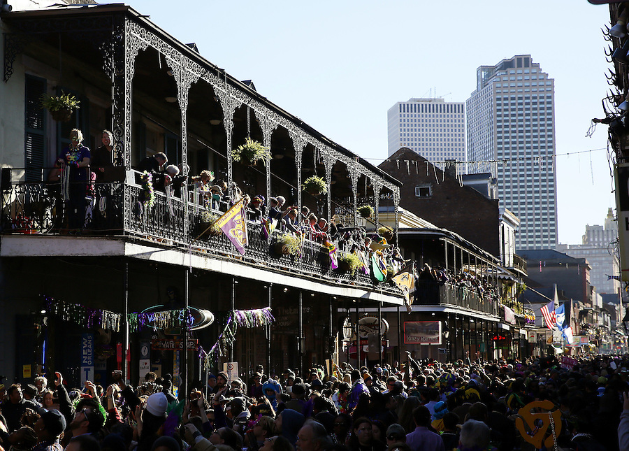 NEW ORLEANS, LOUISIANA - FEBRUARY 9, 2016:  Revelers pack Bourbon Street during Mardi Gras day on February 9, 2016 in New Orleans, Louisiana. Fat Tuesday, or Mardi Gras in French, is a celebration traditionally held before the observance of Ash Wednesday and the beginning of the Christian Lenten season. (Photo by Jonathan Bachman/Getty Images)