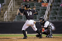 Mitch Roman (10) of the Kannapolis Intimidators at bat against the Hickory Crawdads at Kannapolis Intimidators Stadium on April 22, 2017 in Kannapolis, North Carolina.  The Intimidators defeated the Crawdads 10-9 in 12 innings.  (Brian Westerholt/Four Seam Images)
