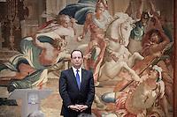 François Hollande, président de la République, présente ses voeux aux corps constitués. A Paris, mardi 8 janvier 2013 - 2013©Jean-Claude Coutausse / french-politics pour Le Monde