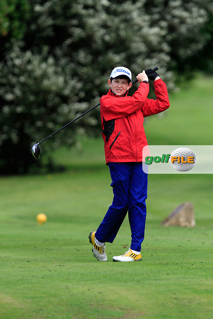 David O'Malley (Black Bush) on the 11th tee during the Irish Boys Under 13 Amateur Open Championship in Malahide Golf Club on Monday 11th August 2014.<br /> Picture:  Thos Caffrey / www.golffile.ie