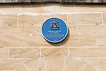 Blue plaque on building where Samuel Taylor Coleridge lived 1814-1816, Calne, Wiltshire, England, UK