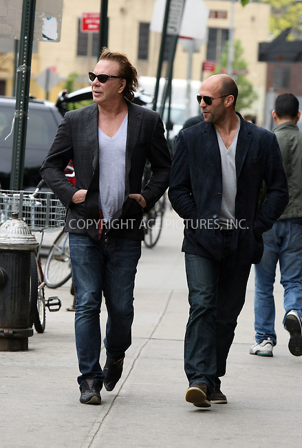 WWW.ACEPIXS.COM . . . . .  ....May 2 2011, New York City....Actors Mickey Rourke and Jason Statham seen walking in the Meatpacking District on May 2 2011 in New York City ....Please byline: PHILIP VAUGHAN - ACE PICTURES.... *** ***..Ace Pictures, Inc:  ..Philip Vaughan (212) 243-8787 or (646) 679 0430..e-mail: info@acepixs.com..web: http://www.acepixs.com