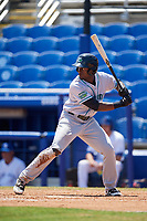Daytona Tortugas left fielder Taylor Trammell (5) at bat during a game against the Dunedin Blue Jays on April 22, 2018 at Dunedin Stadium in Dunedin, Florida.  Daytona defeated Dunedin 5-1.  (Mike Janes/Four Seam Images)