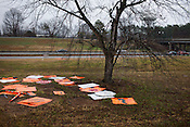 Mixed Signs on the off ramp, Monday morning, Durham, January 9, 2012.