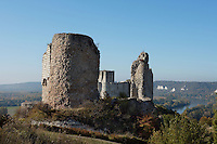 LES ANDELEYS, FRANCE - OCTOBER 10: View of the ruined outer wall with the keep in the background of the Chateau Gaillard, Seine and hills in the distance, on October 10, 2008 in Les Andelys, Normandy, France. The chateau was built by Richard the Lionheart in 1196, came under French control in 1204 following a siege in 1203. It was later destroyed by Henry IV in 1603 and classified as Monuments Historiques in 1852. (Photo by Manuel Cohen)