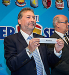 Chris Plowman, Tournament Director, Mark Sutcliffe, CEO of Hong Kong Football Association and Wayne Fong, Head of Corporate Affairs of Citi, attend the draw for the  HKFC Citi Soccer Sevens on 10 April 2016 in Hong Kong, China. Photo by Moses Ng / Power Sport Images