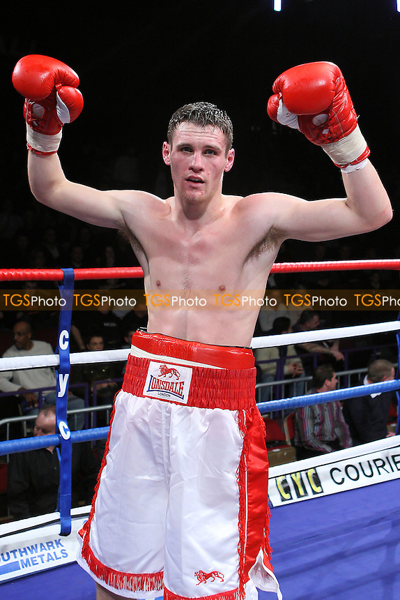 Johnson McClumpha (white/red shorts) defeats Kevin McCauley in a Light-Middleweight boxing contest at the Brentwood Centre, promoted by Frank Maloney - 05/02/11 - MANDATORY CREDIT: Gavin Ellis/TGSPHOTO - Self billing applies where appropriate - Tel: 0845 094 6026