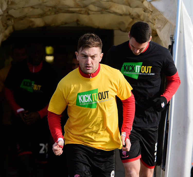 Lincoln City's Lee Frecklington and Lincoln City's Jason Shackell during the pre-match warm-up<br /> <br /> Photographer Chris Vaughan/CameraSport<br /> <br /> The EFL Sky Bet League Two - Lincoln City v Northampton Town - Saturday 9th February 2019 - Sincil Bank - Lincoln<br /> <br /> World Copyright © 2019 CameraSport. All rights reserved. 43 Linden Ave. Countesthorpe. Leicester. England. LE8 5PG - Tel: +44 (0) 116 277 4147 - admin@camerasport.com - www.camerasport.com