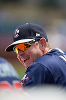 Rome Braves pitching coach Dan Meyer (53) in the dugout during a game against the Lexington Legends on May 23, 2018 at Whitaker Bank Ballpark in Lexington, Kentucky.  Rome defeated Lexington 4-1.  (Mike Janes/Four Seam Images)