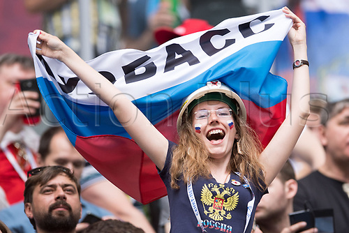 17th June 2017, St Petersburg, Russia; FIFA 2017 Confederations Cup football, Russia versus New Zealand; Group A - Saint Petersburg Stadium,  A woman holds the Russian flag before the Confederations Cup Group A soccer match between Russia and New Zealand at the stadium in Saint Petersburg, Russia, 17 June 2017.