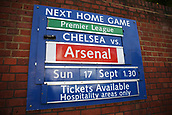 12th September 2017, Stamford Bridge, London, England; UEFA Champions League Group stage, Chelsea versus Qarabag FK; Next Home Game board advertising Premier League match between Chelsea vs Arsenal on display outside Stamford Bridge before kick off