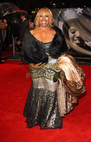 "Brenda Holloway.The ""Michael Jackson : The Life Of An Icon"" UK premiere, Empire cinema, Leicester Square, London, England..2nd November 2011.full length black fur wrap shawl gold dress lace .CAP/ROS.©Steve Ross/Capital Pictures."