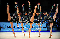 Bulgarian senior group performs hoops routine at 2009 World Cup at Portimao, Portugal on April 19, 2009.  (Photo by Tom Theobald).