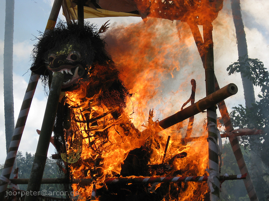cremation going on in Laplapan viilage, a sculpture of a lion looking like a dragon-like creature is  burning, the reminders of a passed family member inside,  Bali, archipelago Indonesia