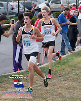 Lafayette's Alec Hains and Austin Hindman at 4k, 2013 Parkway West XC Invitational.