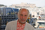 "John Malkovich photographed with Acropolis at the background. Actor John Malkovich give a press conference about the ""Infernal Comedy"" who he's acting tonight in Athens."