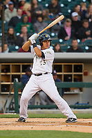 Hector Gimenez (23) of the Charlotte Knights at bat against the Gwinnett Braves at BB&T Ballpark on April 16, 2014 in Charlotte, North Carolina.  The Braves defeated the Knights 7-2.  (Brian Westerholt/Four Seam Images)