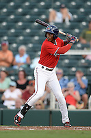 Fort Myers Miracle third baseman Niko Goodrum (15) at bat during a game against the Tampa Yankees on April 15, 2015 at Hammond Stadium in Fort Myers, Florida.  Tampa defeated Fort Myers 3-1 in eleven innings.  (Mike Janes/Four Seam Images)