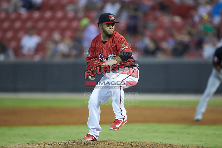 Marcos Diplan (18) of the Carolina Mudcats in action during the 2018 Carolina League All-Star Classic at Five County Stadium on June 19, 2018 in Zebulon, North Carolina. The South All-Stars defeated the North All-Stars 7-6.  (Brian Westerholt/Four Seam Images)
