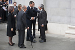 Prince Felipe of Spain, Princess Letizia, Queen Sofia os Spain, Spanish prime minister Mariano Rajoy, King Juan Carlos of Spain and Adolfo Suarez Illana  arrive to the state funeral for former Spanish prime minister Adolfo Suarez at the Almudena Cathedral in Madrid, Spain. March 31, 2014. (ALTERPHOTOS/Victor Blanco)